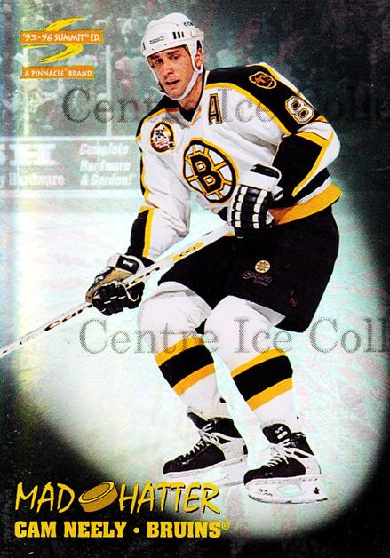 1995-96 Summit Mad Hatters #4 Cam Neely<br/>3 In Stock - $3.00 each - <a href=https://centericecollectibles.foxycart.com/cart?name=1995-96%20Summit%20Mad%20Hatters%20%234%20Cam%20Neely...&quantity_max=3&price=$3.00&code=475377 class=foxycart> Buy it now! </a>