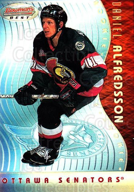 1995-96 Bowmans Best Refractors #16 Daniel Alfredsson<br/>1 In Stock - $10.00 each - <a href=https://centericecollectibles.foxycart.com/cart?name=1995-96%20Bowmans%20Best%20Refractors%20%2316%20Daniel%20Alfredss...&quantity_max=1&price=$10.00&code=475498 class=foxycart> Buy it now! </a>