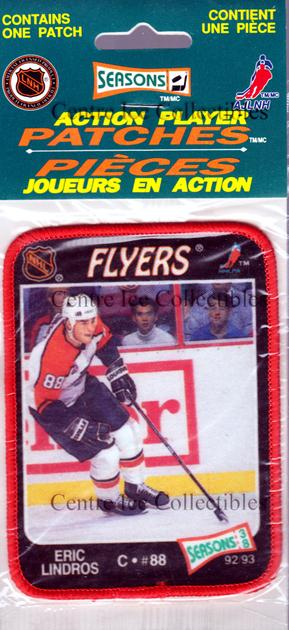 1992-93 Seasons Patches Bilingual #38 Eric Lindros<br/>2 In Stock - $5.00 each - <a href=https://centericecollectibles.foxycart.com/cart?name=1992-93%20Seasons%20Patches%20Bilingual%20%2338%20Eric%20Lindros...&quantity_max=2&price=$5.00&code=475835 class=foxycart> Buy it now! </a>