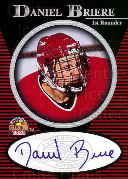 1997 Score Board Autographed Collection Auto #1 Daniel Briere<br/>1 In Stock - $5.00 each - <a href=https://centericecollectibles.foxycart.com/cart?name=1997%20Score%20Board%20Autographed%20Collection%20Auto%20%231%20Daniel%20Briere...&quantity_max=1&price=$5.00&code=475924 class=foxycart> Buy it now! </a>