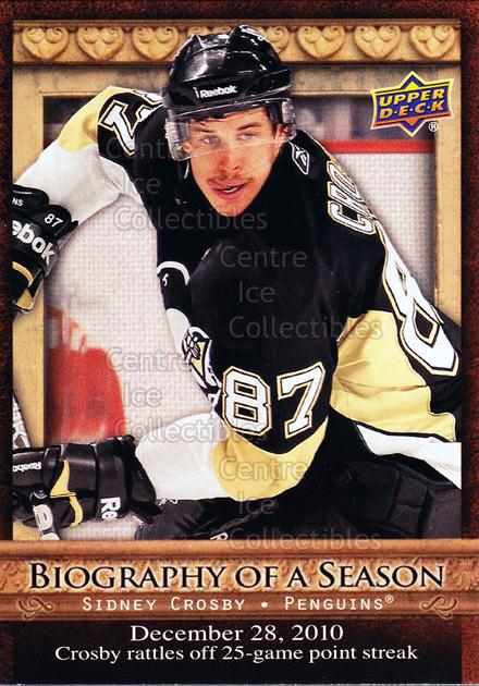 2010-11 Upper Deck Biography of a Season #18 Sidney Crosby<br/>8 In Stock - $3.00 each - <a href=https://centericecollectibles.foxycart.com/cart?name=2010-11%20Upper%20Deck%20Biography%20of%20a%20Season%20%2318%20Sidney%20Crosby...&quantity_max=8&price=$3.00&code=475978 class=foxycart> Buy it now! </a>
