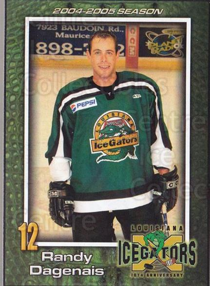 2004-05 Louisiana Ice Gators #3 Randy Dagenais<br/>2 In Stock - $3.00 each - <a href=https://centericecollectibles.foxycart.com/cart?name=2004-05%20Louisiana%20Ice%20Gators%20%233%20Randy%20Dagenais...&quantity_max=2&price=$3.00&code=476093 class=foxycart> Buy it now! </a>