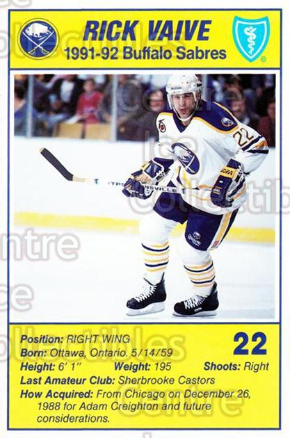 1991-92 Buffalo Sabres Blue Shield #23 Rick Vaive<br/>2 In Stock - $3.00 each - <a href=https://centericecollectibles.foxycart.com/cart?name=1991-92%20Buffalo%20Sabres%20Blue%20Shield%20%2323%20Rick%20Vaive...&quantity_max=2&price=$3.00&code=476348 class=foxycart> Buy it now! </a>