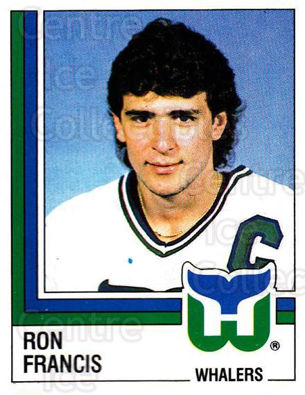 1987-88 Panini Stickers #43 Ron Francis<br/>31 In Stock - $3.00 each - <a href=https://centericecollectibles.foxycart.com/cart?name=1987-88%20Panini%20Stickers%20%2343%20Ron%20Francis...&quantity_max=31&price=$3.00&code=476423 class=foxycart> Buy it now! </a>