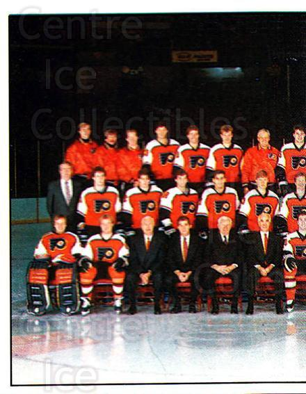 1987-88 Panini Stickers #391 Philadelphia Flyers, Team Photo<br/>42 In Stock - $2.00 each - <a href=https://centericecollectibles.foxycart.com/cart?name=1987-88%20Panini%20Stickers%20%23391%20Philadelphia%20Fl...&price=$2.00&code=476771 class=foxycart> Buy it now! </a>