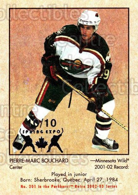 2002-03 Parkhurst Retro Spring Expo #201 Pierre-Marc Bouchard<br/>2 In Stock - $5.00 each - <a href=https://centericecollectibles.foxycart.com/cart?name=2002-03%20Parkhurst%20Retro%20Spring%20Expo%20%23201%20Pierre-Marc%20Bou...&quantity_max=2&price=$5.00&code=476834 class=foxycart> Buy it now! </a>