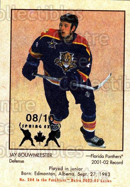 2002-03 Parkhurst Retro Spring Expo #204 Jay Bouwmeester<br/>2 In Stock - $5.00 each - <a href=https://centericecollectibles.foxycart.com/cart?name=2002-03%20Parkhurst%20Retro%20Spring%20Expo%20%23204%20Jay%20Bouwmeester...&quantity_max=2&price=$5.00&code=476837 class=foxycart> Buy it now! </a>