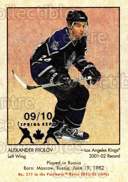 2002-03 Parkhurst Retro Spring Expo #217 Alexander Frolov<br/>2 In Stock - $5.00 each - <a href=https://centericecollectibles.foxycart.com/cart?name=2002-03%20Parkhurst%20Retro%20Spring%20Expo%20%23217%20Alexander%20Frolo...&quantity_max=2&price=$5.00&code=476850 class=foxycart> Buy it now! </a>