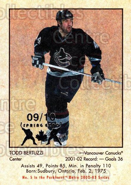 2002-03 Parkhurst Retro Spring Expo #5 Todd Bertuzzi<br/>1 In Stock - $5.00 each - <a href=https://centericecollectibles.foxycart.com/cart?name=2002-03%20Parkhurst%20Retro%20Spring%20Expo%20%235%20Todd%20Bertuzzi...&quantity_max=1&price=$5.00&code=476884 class=foxycart> Buy it now! </a>