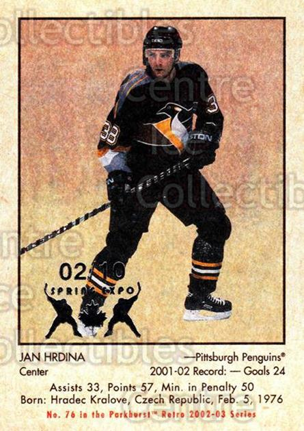 2002-03 Parkhurst Retro Spring Expo #76 Jan Hrdina<br/>1 In Stock - $5.00 each - <a href=https://centericecollectibles.foxycart.com/cart?name=2002-03%20Parkhurst%20Retro%20Spring%20Expo%20%2376%20Jan%20Hrdina...&quantity_max=1&price=$5.00&code=476911 class=foxycart> Buy it now! </a>