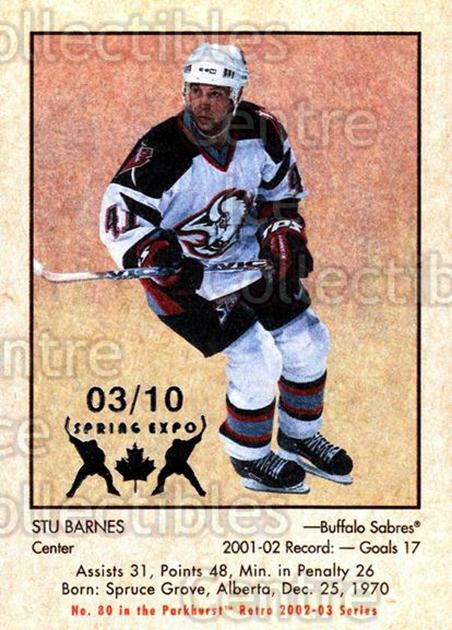 2002-03 Parkhurst Retro Spring Expo #80 Stu Barnes<br/>1 In Stock - $5.00 each - <a href=https://centericecollectibles.foxycart.com/cart?name=2002-03%20Parkhurst%20Retro%20Spring%20Expo%20%2380%20Stu%20Barnes...&quantity_max=1&price=$5.00&code=476916 class=foxycart> Buy it now! </a>
