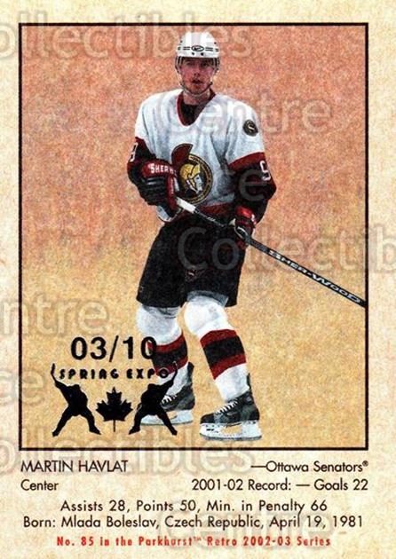 2002-03 Parkhurst Retro Spring Expo #85 Martin Havlat<br/>2 In Stock - $5.00 each - <a href=https://centericecollectibles.foxycart.com/cart?name=2002-03%20Parkhurst%20Retro%20Spring%20Expo%20%2385%20Martin%20Havlat...&quantity_max=2&price=$5.00&code=476921 class=foxycart> Buy it now! </a>