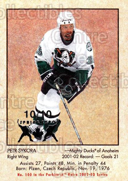 2002-03 Parkhurst Retro Spring Expo #100 Petr Sykora<br/>3 In Stock - $5.00 each - <a href=https://centericecollectibles.foxycart.com/cart?name=2002-03%20Parkhurst%20Retro%20Spring%20Expo%20%23100%20Petr%20Sykora...&quantity_max=3&price=$5.00&code=476947 class=foxycart> Buy it now! </a>