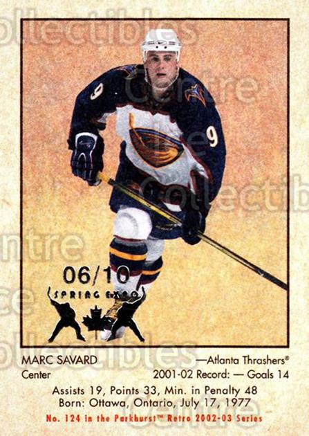 2002-03 Parkhurst Retro Spring Expo #124 Marc Savard<br/>3 In Stock - $5.00 each - <a href=https://centericecollectibles.foxycart.com/cart?name=2002-03%20Parkhurst%20Retro%20Spring%20Expo%20%23124%20Marc%20Savard...&quantity_max=3&price=$5.00&code=476972 class=foxycart> Buy it now! </a>