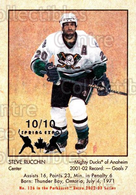 2002-03 Parkhurst Retro Spring Expo #126 Steve Rucchin<br/>3 In Stock - $5.00 each - <a href=https://centericecollectibles.foxycart.com/cart?name=2002-03%20Parkhurst%20Retro%20Spring%20Expo%20%23126%20Steve%20Rucchin...&quantity_max=3&price=$5.00&code=476973 class=foxycart> Buy it now! </a>