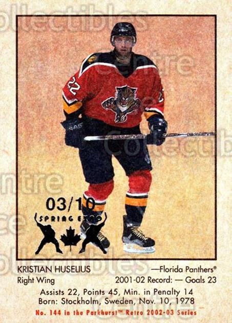2002-03 Parkhurst Retro Spring Expo #144 Kristian Huselius<br/>1 In Stock - $5.00 each - <a href=https://centericecollectibles.foxycart.com/cart?name=2002-03%20Parkhurst%20Retro%20Spring%20Expo%20%23144%20Kristian%20Huseli...&quantity_max=1&price=$5.00&code=476993 class=foxycart> Buy it now! </a>