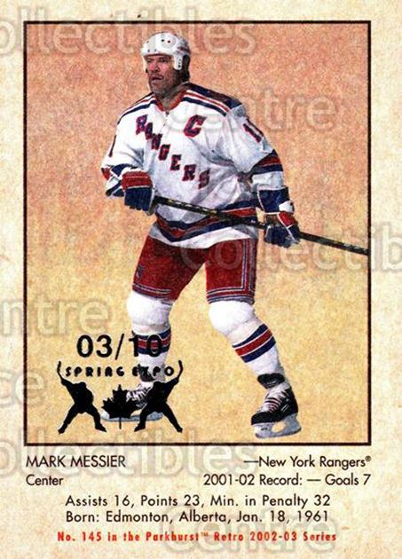 2002-03 Parkhurst Retro Spring Expo #145 Mark Messier<br/>3 In Stock - $5.00 each - <a href=https://centericecollectibles.foxycart.com/cart?name=2002-03%20Parkhurst%20Retro%20Spring%20Expo%20%23145%20Mark%20Messier...&quantity_max=3&price=$5.00&code=476994 class=foxycart> Buy it now! </a>