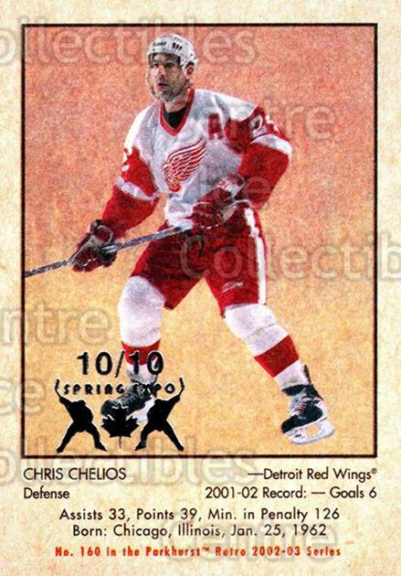 2002-03 Parkhurst Retro Spring Expo #160 Chris Chelios<br/>2 In Stock - $5.00 each - <a href=https://centericecollectibles.foxycart.com/cart?name=2002-03%20Parkhurst%20Retro%20Spring%20Expo%20%23160%20Chris%20Chelios...&quantity_max=2&price=$5.00&code=477010 class=foxycart> Buy it now! </a>