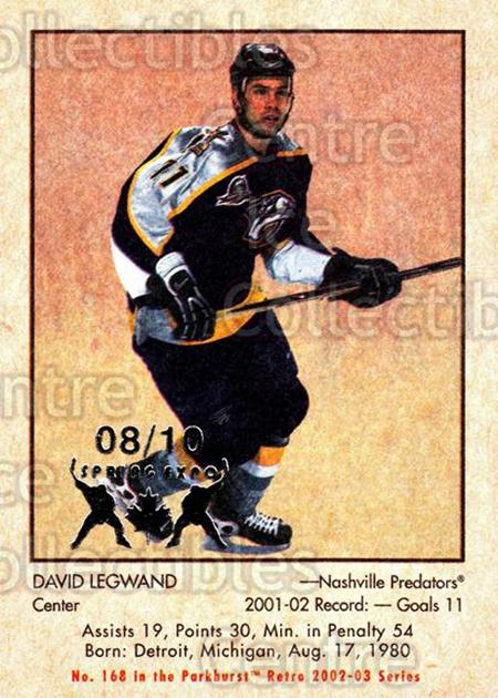 2002-03 Parkhurst Retro Spring Expo #168 David Legwand<br/>1 In Stock - $5.00 each - <a href=https://centericecollectibles.foxycart.com/cart?name=2002-03%20Parkhurst%20Retro%20Spring%20Expo%20%23168%20David%20Legwand...&quantity_max=1&price=$5.00&code=477017 class=foxycart> Buy it now! </a>