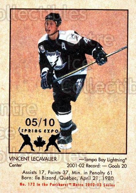 2002-03 Parkhurst Retro Spring Expo #172 Vincent Lecavalier<br/>4 In Stock - $5.00 each - <a href=https://centericecollectibles.foxycart.com/cart?name=2002-03%20Parkhurst%20Retro%20Spring%20Expo%20%23172%20Vincent%20Lecaval...&quantity_max=4&price=$5.00&code=477021 class=foxycart> Buy it now! </a>