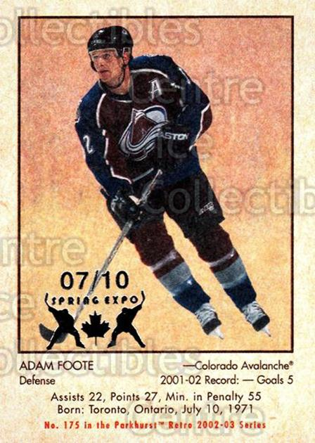 2002-03 Parkhurst Retro Spring Expo #175 Adam Foote<br/>4 In Stock - $5.00 each - <a href=https://centericecollectibles.foxycart.com/cart?name=2002-03%20Parkhurst%20Retro%20Spring%20Expo%20%23175%20Adam%20Foote...&quantity_max=4&price=$5.00&code=477024 class=foxycart> Buy it now! </a>