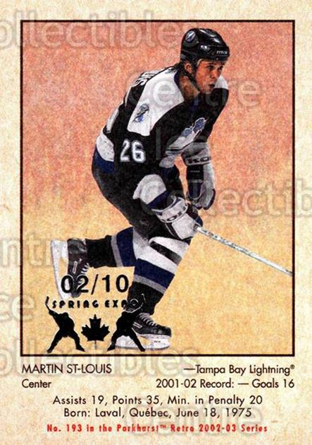 2002-03 Parkhurst Retro Spring Expo #193 Martin St. Louis<br/>1 In Stock - $5.00 each - <a href=https://centericecollectibles.foxycart.com/cart?name=2002-03%20Parkhurst%20Retro%20Spring%20Expo%20%23193%20Martin%20St.%20Loui...&quantity_max=1&price=$5.00&code=477044 class=foxycart> Buy it now! </a>
