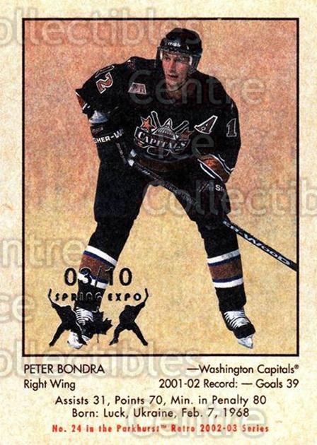 2002-03 Parkhurst Retro Spring Expo #24 Peter Bondra<br/>4 In Stock - $5.00 each - <a href=https://centericecollectibles.foxycart.com/cart?name=2002-03%20Parkhurst%20Retro%20Spring%20Expo%20%2324%20Peter%20Bondra...&quantity_max=4&price=$5.00&code=477057 class=foxycart> Buy it now! </a>
