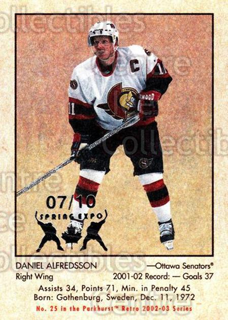 2002-03 Parkhurst Retro Spring Expo #25 Daniel Alfredsson<br/>5 In Stock - $5.00 each - <a href=https://centericecollectibles.foxycart.com/cart?name=2002-03%20Parkhurst%20Retro%20Spring%20Expo%20%2325%20Daniel%20Alfredss...&quantity_max=5&price=$5.00&code=477058 class=foxycart> Buy it now! </a>