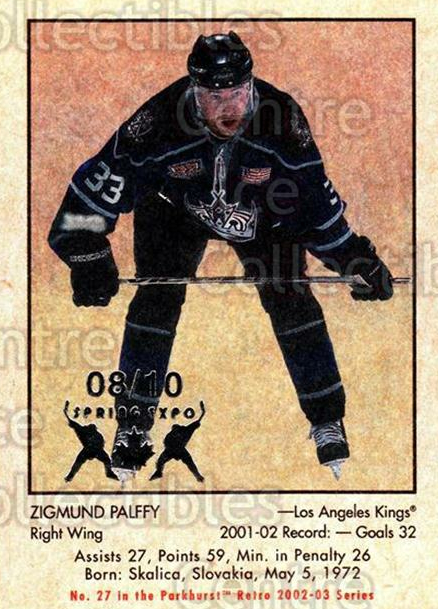 2002-03 Parkhurst Retro Spring Expo #27 Zigmund Palffy<br/>3 In Stock - $5.00 each - <a href=https://centericecollectibles.foxycart.com/cart?name=2002-03%20Parkhurst%20Retro%20Spring%20Expo%20%2327%20Zigmund%20Palffy...&quantity_max=3&price=$5.00&code=477060 class=foxycart> Buy it now! </a>