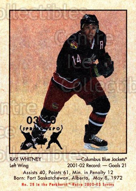 2002-03 Parkhurst Retro Spring Expo #28 Ray Whitney<br/>3 In Stock - $5.00 each - <a href=https://centericecollectibles.foxycart.com/cart?name=2002-03%20Parkhurst%20Retro%20Spring%20Expo%20%2328%20Ray%20Whitney...&quantity_max=3&price=$5.00&code=477061 class=foxycart> Buy it now! </a>