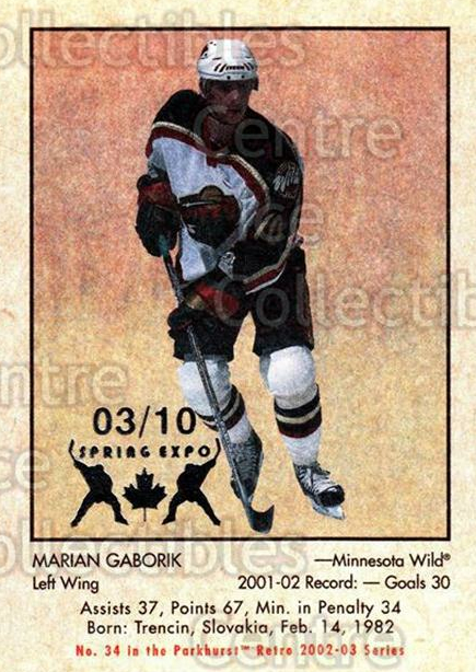 2002-03 Parkhurst Retro Spring Expo #34 Marian Gaborik<br/>5 In Stock - $5.00 each - <a href=https://centericecollectibles.foxycart.com/cart?name=2002-03%20Parkhurst%20Retro%20Spring%20Expo%20%2334%20Marian%20Gaborik...&quantity_max=5&price=$5.00&code=477068 class=foxycart> Buy it now! </a>