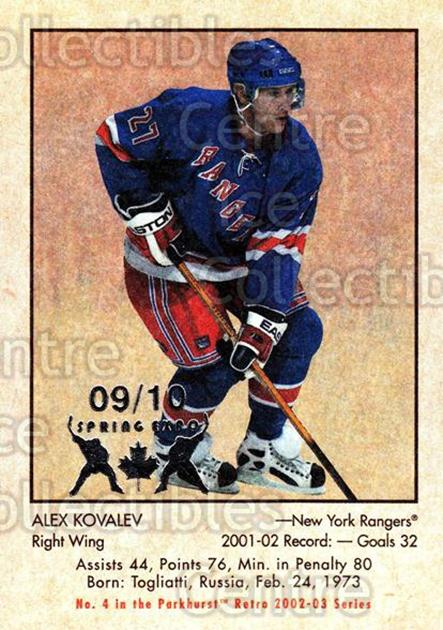 2002-03 Parkhurst Retro Spring Expo #4 Alexei Kovalev<br/>1 In Stock - $5.00 each - <a href=https://centericecollectibles.foxycart.com/cart?name=2002-03%20Parkhurst%20Retro%20Spring%20Expo%20%234%20Alexei%20Kovalev...&quantity_max=1&price=$5.00&code=477073 class=foxycart> Buy it now! </a>