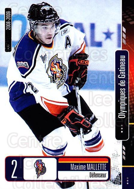 2008-09 Olympiques De Gatineau #1 Maxime Mallette<br/>4 In Stock - $3.00 each - <a href=https://centericecollectibles.foxycart.com/cart?name=2008-09%20Olympiques%20De%20Gatineau%20%231%20Maxime%20Mallette...&quantity_max=4&price=$3.00&code=477541 class=foxycart> Buy it now! </a>