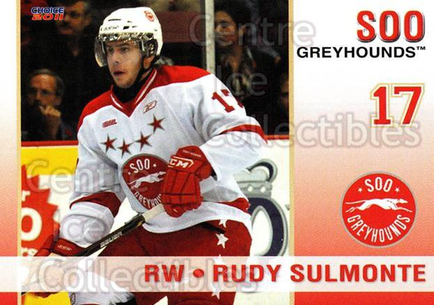 2010-11 Sault Ste. Marie Greyhounds #11 Rudy Sulmonte<br/>4 In Stock - $3.00 each - <a href=https://centericecollectibles.foxycart.com/cart?name=2010-11%20Sault%20Ste.%20Marie%20Greyhounds%20%2311%20Rudy%20Sulmonte...&quantity_max=4&price=$3.00&code=477576 class=foxycart> Buy it now! </a>