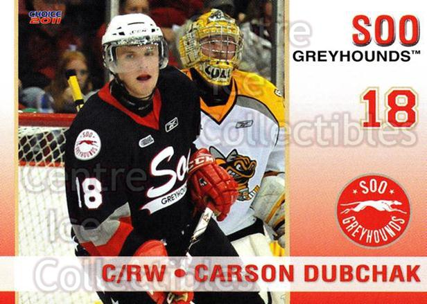 2010-11 Sault Ste. Marie Greyhounds #12 Carson Dubchak<br/>4 In Stock - $3.00 each - <a href=https://centericecollectibles.foxycart.com/cart?name=2010-11%20Sault%20Ste.%20Marie%20Greyhounds%20%2312%20Carson%20Dubchak...&quantity_max=4&price=$3.00&code=477577 class=foxycart> Buy it now! </a>