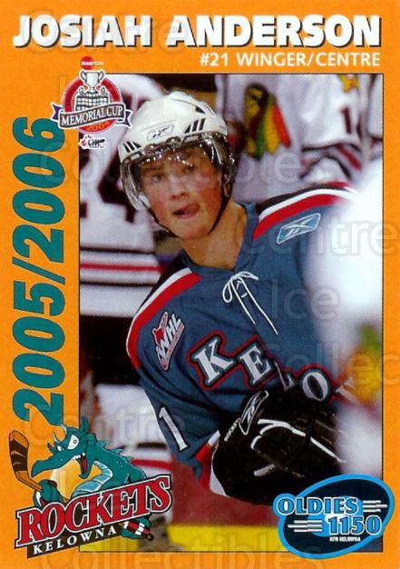 2005-06 Kelowna Rockets #2 Josiah Anderson<br/>1 In Stock - $3.00 each - <a href=https://centericecollectibles.foxycart.com/cart?name=2005-06%20Kelowna%20Rockets%20%232%20Josiah%20Anderson...&quantity_max=1&price=$3.00&code=477828 class=foxycart> Buy it now! </a>