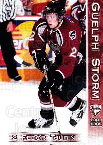 2001-02 Guelph Storm #1 Fedor Tyutin<br/>3 In Stock - $3.00 each - <a href=https://centericecollectibles.foxycart.com/cart?name=2001-02%20Guelph%20Storm%20%231%20Fedor%20Tyutin...&quantity_max=3&price=$3.00&code=477863 class=foxycart> Buy it now! </a>