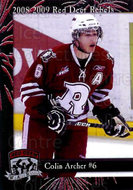 2008-09 Red Deer Rebels #1 Colin Archer<br/>3 In Stock - $3.00 each - <a href=https://centericecollectibles.foxycart.com/cart?name=2008-09%20Red%20Deer%20Rebels%20%231%20Colin%20Archer...&price=$3.00&code=477956 class=foxycart> Buy it now! </a>