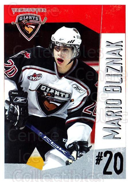 2005-06 Vancouver Giants #3 Mario Bliznak<br/>1 In Stock - $3.00 each - <a href=https://centericecollectibles.foxycart.com/cart?name=2005-06%20Vancouver%20Giants%20%233%20Mario%20Bliznak...&quantity_max=1&price=$3.00&code=477982 class=foxycart> Buy it now! </a>