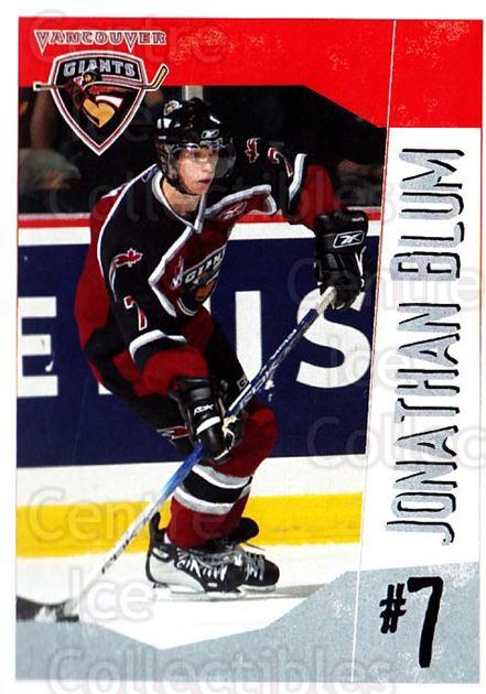 2005-06 Vancouver Giants #4 Jonathan Blum<br/>2 In Stock - $3.00 each - <a href=https://centericecollectibles.foxycart.com/cart?name=2005-06%20Vancouver%20Giants%20%234%20Jonathan%20Blum...&quantity_max=2&price=$3.00&code=477983 class=foxycart> Buy it now! </a>