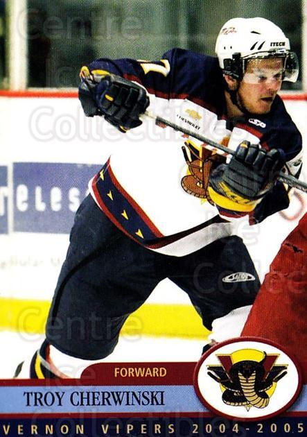 2004-05 Vernon Vipers #2 Troy Cherwinski<br/>2 In Stock - $3.00 each - <a href=https://centericecollectibles.foxycart.com/cart?name=2004-05%20Vernon%20Vipers%20%232%20Troy%20Cherwinski...&quantity_max=2&price=$3.00&code=478117 class=foxycart> Buy it now! </a>