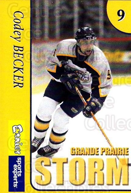 2004-05 Grande Prairie Storm #2 Codey Becker<br/>7 In Stock - $3.00 each - <a href=https://centericecollectibles.foxycart.com/cart?name=2004-05%20Grande%20Prairie%20Storm%20%232%20Codey%20Becker...&quantity_max=7&price=$3.00&code=478173 class=foxycart> Buy it now! </a>