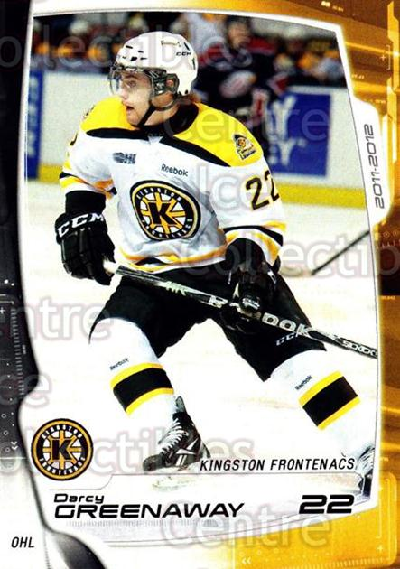 2011-12 Kingston Frontenacs #13 Darcy Greenaway<br/>2 In Stock - $3.00 each - <a href=https://centericecollectibles.foxycart.com/cart?name=2011-12%20Kingston%20Frontenacs%20%2313%20Darcy%20Greenaway...&price=$3.00&code=478752 class=foxycart> Buy it now! </a>