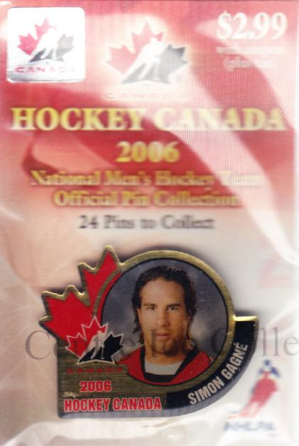 2006 Team Canada Hockey Pin #7 Simon Gagne<br/>2 In Stock - $5.00 each - <a href=https://centericecollectibles.foxycart.com/cart?name=2006%20Team%20Canada%20Hockey%20Pin%20%237%20Simon%20Gagne...&quantity_max=2&price=$5.00&code=479016 class=foxycart> Buy it now! </a>