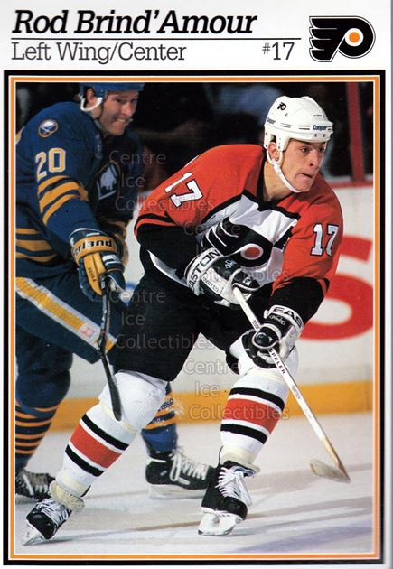 1995-96 Philadelphia Flyers Postcards #2 Rod Brind'Amour<br/>7 In Stock - $3.00 each - <a href=https://centericecollectibles.foxycart.com/cart?name=1995-96%20Philadelphia%20Flyers%20Postcards%20%232%20Rod%20Brind'Amour...&quantity_max=7&price=$3.00&code=479113 class=foxycart> Buy it now! </a>