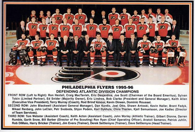 1995-96 Philadelphia Flyers Postcards #26 Philadelphia Flyers, Team Photo<br/>3 In Stock - $3.00 each - <a href=https://centericecollectibles.foxycart.com/cart?name=1995-96%20Philadelphia%20Flyers%20Postcards%20%2326%20Philadelphia%20Fl...&price=$3.00&code=479137 class=foxycart> Buy it now! </a>