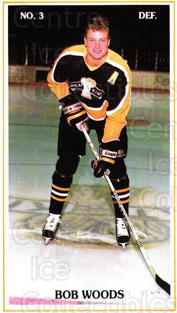 1988-89 Brandon Wheat Kings #2 Bob Woods<br/>2 In Stock - $3.00 each - <a href=https://centericecollectibles.foxycart.com/cart?name=1988-89%20Brandon%20Wheat%20Kings%20%232%20Bob%20Woods...&quantity_max=2&price=$3.00&code=479889 class=foxycart> Buy it now! </a>