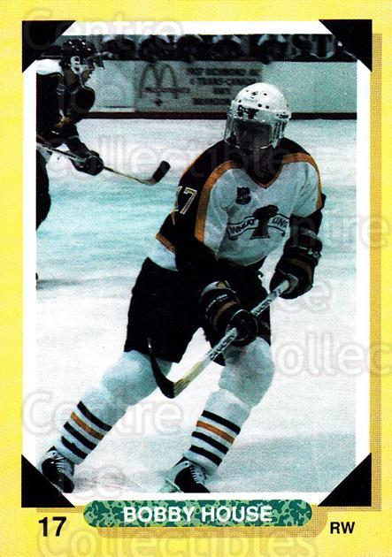 1992-93 Brandon Wheat Kings #13 Bobby House<br/>2 In Stock - $3.00 each - <a href=https://centericecollectibles.foxycart.com/cart?name=1992-93%20Brandon%20Wheat%20Kings%20%2313%20Bobby%20House...&quantity_max=2&price=$3.00&code=479894 class=foxycart> Buy it now! </a>