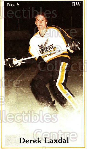 1983-84 Brandon Wheat Kings #19 Derek Laxdal<br/>1 In Stock - $3.00 each - <a href=https://centericecollectibles.foxycart.com/cart?name=1983-84%20Brandon%20Wheat%20Kings%20%2319%20Derek%20Laxdal...&quantity_max=1&price=$3.00&code=479901 class=foxycart> Buy it now! </a>