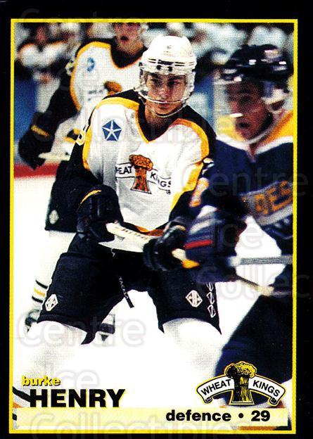 1996-97 Brandon Wheat Kings #23 Burke Henry<br/>1 In Stock - $3.00 each - <a href=https://centericecollectibles.foxycart.com/cart?name=1996-97%20Brandon%20Wheat%20Kings%20%2323%20Burke%20Henry...&quantity_max=1&price=$3.00&code=479916 class=foxycart> Buy it now! </a>